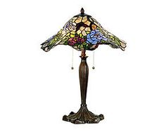 Lampada da tavolo stile Tiffany in vetro e metallo Eddie - D 46 cm