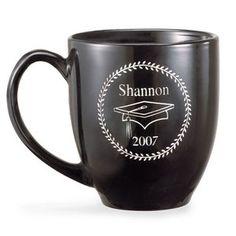 Personalized Black Graduation Mug, Bistro Style