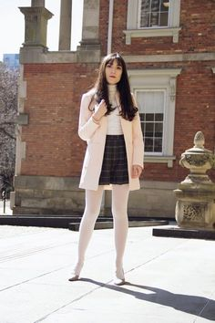 Carolina Pinglo stunning white tights, plaid skirt, hot ensemble!