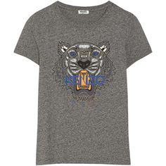 KENZO Tiger printed cotton-jersey T-shirt ($135) ❤ liked on Polyvore featuring tops, t-shirts, t shirt, anthracite, colorful tops, kenzo tee, multicolor t shirt, tiger stripe t shirt and cotton jersey