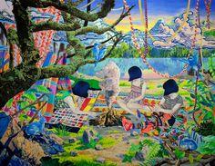 WORKS - NAOMI OKUBO 大久保如彌 camping- window display アクリル・綿布・パネル 1,167x 910 mm / camping- window display Acrylic,cotton and panel