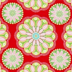 red Michael Miller Christmas fabric with flower ornaments