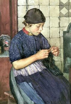 Walter Langley Girl Knitting.