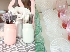 Mason jars painted and used as silverware holders. (Gonna tie a ribbon on the jar as well).
