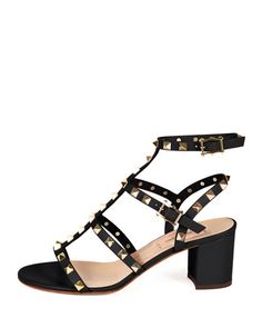 S0C6G Valentino Rockstud Leather City Sandal, Black