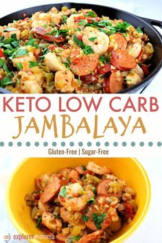 Keto jambalaya will add some spice to your low carb family dinner! Gluten-free w… Keto jambalaya will add some spice to your low carb family dinner! Gluten-free with cauliflower rice, andouille sausage, shrimp, and chicken. The perfect one-pot meal. Ketogenic Recipes, Diet Recipes, Healthy Recipes, Cheap Recipes, Recipies, Lunch Recipes, Low Car Recipes, Keto Recipes Dinner Easy, Slow Cooker Keto Recipes
