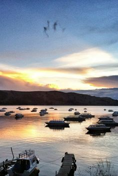 Boats docked on the still shores of Lake Titicaca, Bolivia http://www.bolivianlife.com/ #travel