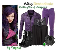 """Disney Desendants Mal's Style"" by peytenn ❤ liked on Polyvore"