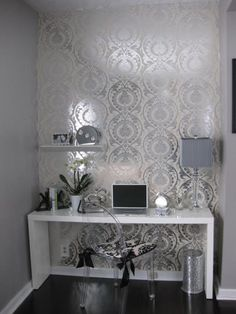 Home office/workspace - grey grey grey minus the wallpaper...