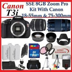 Canon EOS Rebel T3i Digital 18 MP CMOS SLR Cameras (600D) with Canon EF-S 18-55mm f/3.5-5.6 IS Lens & Canon EF 75-300mm f/4-5.6 III Telephoto Zoom Lens + SSE Premium SLR Lens Accessory Package by Canon, http://www.amazon.com/dp/B004UN54RW/ref=cm_sw_r_pi_dp_U-ndrb15WMN0T