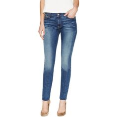 7 for All Mankind Gwenevere Mid Rise Skinny Jean ($89) ❤ liked on Polyvore featuring jeans, mens jeans, blue skinny jeans, torn jeans, destroyed skinny jeans and distressed jeans