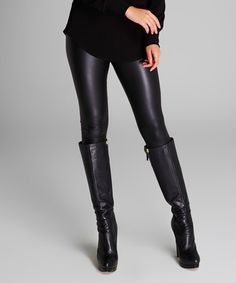 Loving this Black Faux Leather Leggings on #zulily! #zulilyfinds