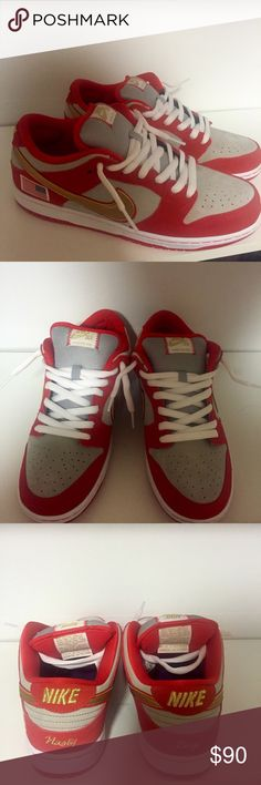 Nike sb Nike sb dunk low pro. Nasty boys. Brand new! Never worn, was a gift to my brother but they arnt his size. Can't tell if they are a red or a burnt orange color. Price negotiable :) Nike Shoes Sneakers