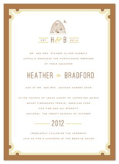 "Sweet Honey invitation @cambria evans for j.bartyn design, submission for @minted ""something old, something new wedding challenge"""