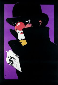 Cyrk Clown with newspaper  Original Polish poster  designer: Waldemar Swierzy  year: 1979 / 80's print