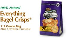 New York Style Everything Bagel Crisps - The authentic taste of bagels from New York City bakeries. www.newyorkstyle.com/ #snacks #fingerfoods #quickbites #natural #bagels