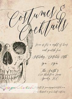 Vintage Skeleton Adult Halloween Party Invitation Scary | Etsy