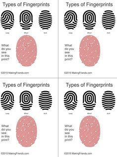 Simple illustration helps your detectives learn to read finger prints. Print four cards per page. Simple illustration helps your detectives learn to read finger prints. Print four cards per page. Girl Scout Badges, Girl Scout Troop, Girl Scouts, Scout Leader, Photo Booth Anniversaire, Cub Scouts Bear, Detective Party, Detective Crafts, Cub Scout Activities