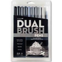 Tombow Dual Brush Pen 10-Pen Set, Grayscale
