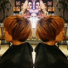 Annalisa Hontz Stylist and Color Specialist. Call Hair Secrets and Spa at (321)259- 2144 and ask for Annalisa. Copper red hair. Short hair. Melbourne FL.