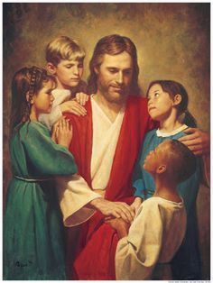 Jesus Christ pictured with children from around the world