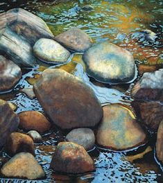 Mary Rollins.... simply amazing with water colors! Stunning water and rocks. I want one of her creations! http://www.maryrollins.com/