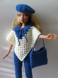 ooak white/blue outfit with birette & hand bag crocheted for Barbie Silkstone My Scene Poppy Parker Fashion doll FR DG Autumn Blue/white Poncho and Blue Breeches with Blue Birette and blue Bag Handmade Crocheted for Barbie My scene Crochet Barbie Patterns, Crochet Doll Dress, Barbie Clothes Patterns, Crochet Barbie Clothes, Doll Clothes Barbie, Crochet Doll Pattern, Barbie Dress, Clothing Patterns, Accessoires Barbie