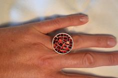 Red glass mosaic ring by PippesGlasmozaiek on Etsy, €19.95