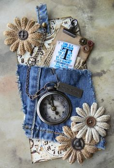 Cloth tag - The Artful Maven Haven: Time For A Pocket Watch - could easily see this as an embellishment on a scrapbook page. Card Tags, Gift Tags, Fabric Journals, Denim Crafts, Handmade Tags, Paper Tags, Scrapbook Embellishments, Artist Trading Cards, Vintage Tags