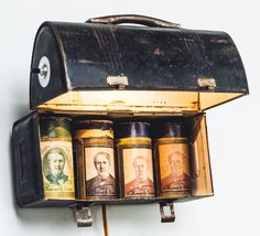"""food for thought""- lamp, vintage lunchbox and Edison canisters by macpremo.com"