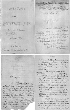 Mark Twain's handwritten manuscript pages from the beginning of The Adventures of Huckleberry Finn.