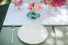 vintage wedding plates - Read more on One Fab Day: http://onefabday.com/dna-photographers-outdoor-wedding/