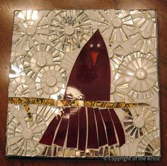 Snowy Cardinal by Andrea Schein  ~  Maplestone Gallery  ~  Contemporary Mosaic Art