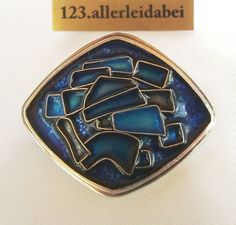 Original Perli Emaille Silber Brosche 925 er Silber Emaile enamel  / AI 267