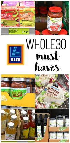 This shopping list for Whole30 Must Haves from ALDI is the perfect way to help you do Whole30 on a budget. From marinara to guacamole!