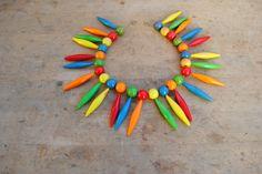 collana  Enrico Coveri   anni 80 in materiale plastico colorato, collana vintage, gioielli vintage, collane colorate , collane grandi di MonicaAntique su Etsy