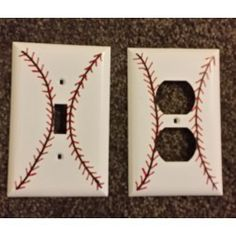 Light Switch & Outlet Cover – Baseball – Hand Painted
