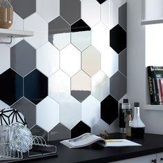 Faïence mur noir, Hexa l.17.5 x L.20 cm