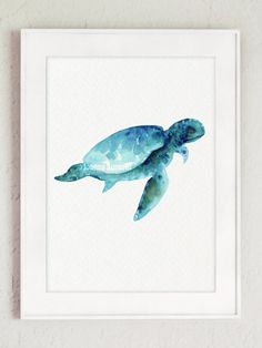 Sea Turtle Art Print giclée aquarelle peinture par ColorWatercolor