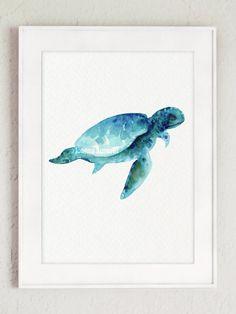 Sea Turtle Wall Art Print, Giclee Watercolour Painting, Turquoise Ocean Illustration Blue Home Decor, Abstract Sea Animals Nursery Wall Art