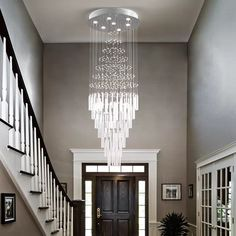 Raindrop Crystal Chandelier Modern Contemporary Chandelier Rain Drop Helix Fixture Lighting with Crystal Balls for High Foyer Hallway/Living 60 (inch) Lights) Entry Chandelier, Empire Chandelier, Chandelier In Living Room, Ceiling Chandelier, Living Room Lighting, My Living Room, Chandelier Crystals, Chandeliers, High Ceiling Living Room