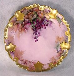 ANTIQUE LIMOGES HAND PAINTED PLATE - LAVENDER BERRIES on Ebay