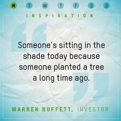 """""""Someone's sitting in the shade today because someone planted a tree a long time ago.""""    Warren Buffet    #quotes #motivation #inspiration"""