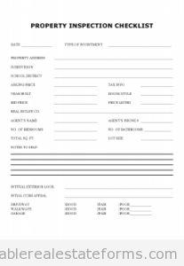 Sample Printable Property Inspection Checklist Form Inspection Checklist Checklist Template Real Estate Forms