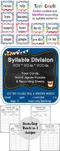 Premise Indicator Words: Syllable Zoo Is A Fun Phonics Worksheet In Which Students