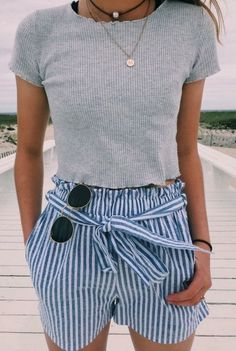 #Summer #Outfits / gray t shirt + striped shorts