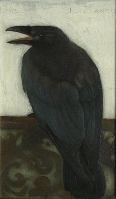 'Kraai op scherm' (Crow on Screen) by Dutch painter Jan Mankes via artstack Crow Art, Raven Art, Bird Art, Gravure Illustration, Bird Illustration, Illustrations, Choucas Des Tours, Jackdaw, Crows Ravens