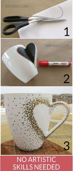 DIY Craft Project: Sharpie Mug Tutorial - Custom heart handle mugs that require no artistic ability or transfers! If you can trace and make dots you can make these mugs! Learn the easy hack! Uses oil based Sharpie paint pens that are baked on. Sharpie Paint Pens, Sharpie Crafts, Sharpie Mugs, Sharpies, Oil Sharpie, Diy Mugs, Sharpie Projects, Sharpie Markers, Oil Based Sharpie