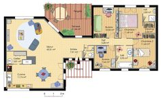 Plan de maison en bois conçu par un architecte, avec terrasse et pergola, cuisine et séjour, deux bureaux, 2 chambres dont une suite parentale avec dressin