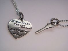 His & Hers Antiqued Silver Key To My Heart Couples Necklace